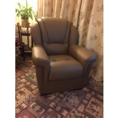 Mrs English from Blackwell - new Louise Leather chair in Bark colour