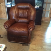 M/M Carter from Sutton in Ashfield - New Cynthia leather chair in colour Tabak