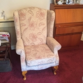 Mrs Hibbert from Forest Town - New Kensington wing chair in Maidavale fabric